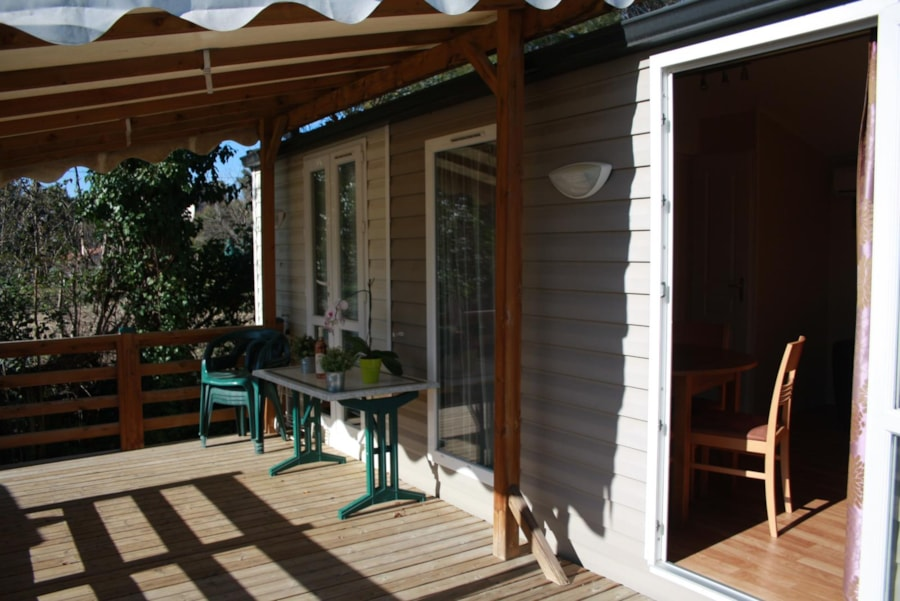 Location Mobil Home Luxe 33 - Terrasse - Camping Chantecler ★★★★ Aix en Provence (Sud de la France)